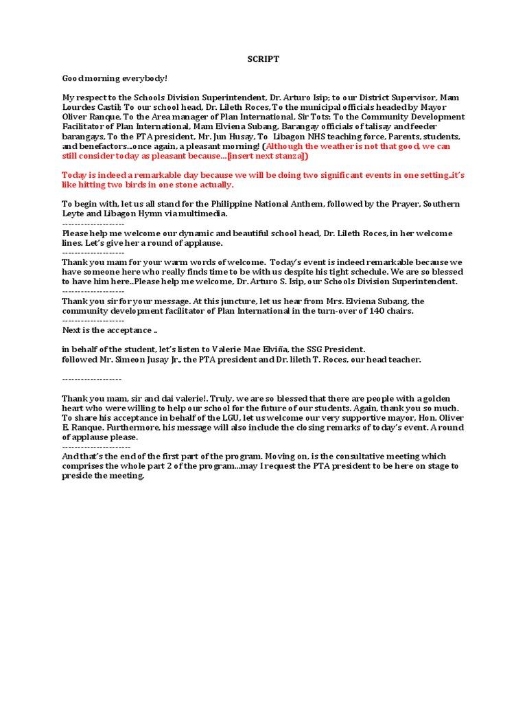 Emcee script for turn over ceremonycx aljukfo Images