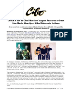 Check It Out at Cibo! Month of August Features a Great Live Music Line-Up at Cibo Ristorante Italiano