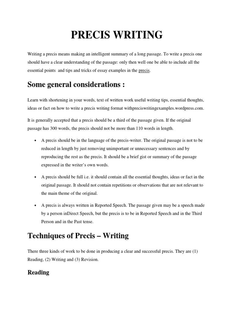 Precis Writing | Sentence (Linguistics) | Knowledge