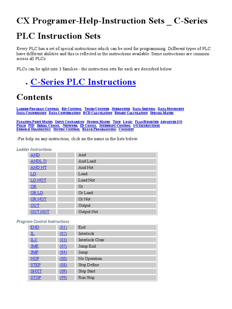 Plc instruction list tutorial images any tutorial examples cx programer help instruction sets c series trigonometric cx programer help instruction sets c series trigonometric biocorpaavc Gallery