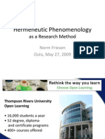 Hermeneutic Phenomenology