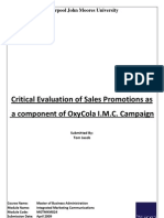 Critical Evaluation of Sales Promotions as a component of OxyCola I.M.C. Campaign