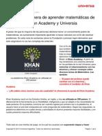 Nueva Manera Aprender Matematicas Mano Khan Academy Universia