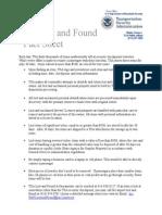 TSA Lost and Found Fact Sheet