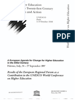European Agenda for Change for Higher Education in XXIst Century