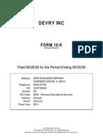 Devry Annual Report 2009