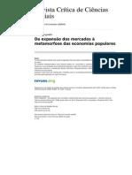 Hespanha Da Expansao Dos Mercados a Metamorfose Das Economias Populares