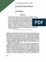 Subjectivity & 1st Person Perspctive - Zahavi