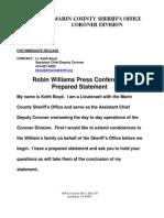 Marin County Sheriff Updated Statement on Robin Williams