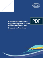 Recommendations on Engineering Watch Duty Period Handover and Inspection Routines