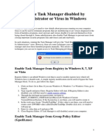 Enable Task Manager Disabled by Administrator or Virus in Windows