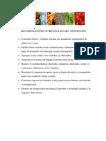 Recomendaciones Nutricionales Para Constipación