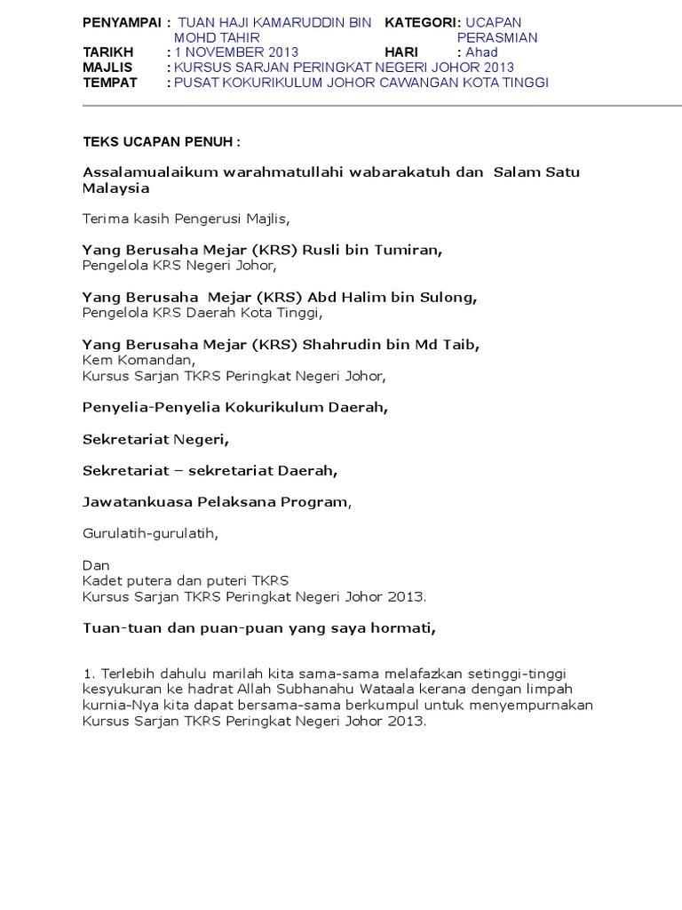 Teks Ucapan Penutupan Rasmi Kursus Sarjan 2013