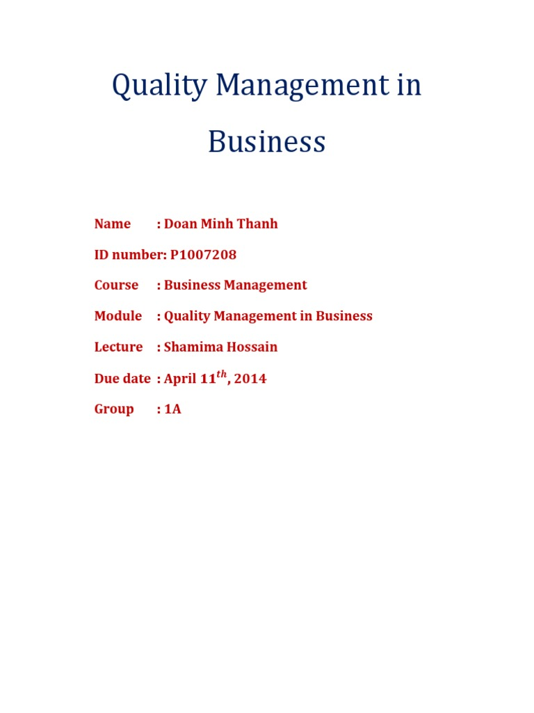 qmb assignment quality management customer