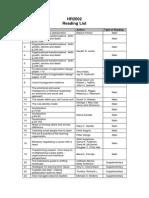 HR2002 Reading List