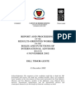 Report and Proceedings of the Results-Oriented 4 November 2002 Workshop on the Roles and Functions of International Advisors