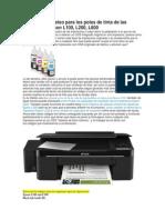 Códigos de Reseteo Para Los Potes de Tinta de Las Impresoras Epson L100