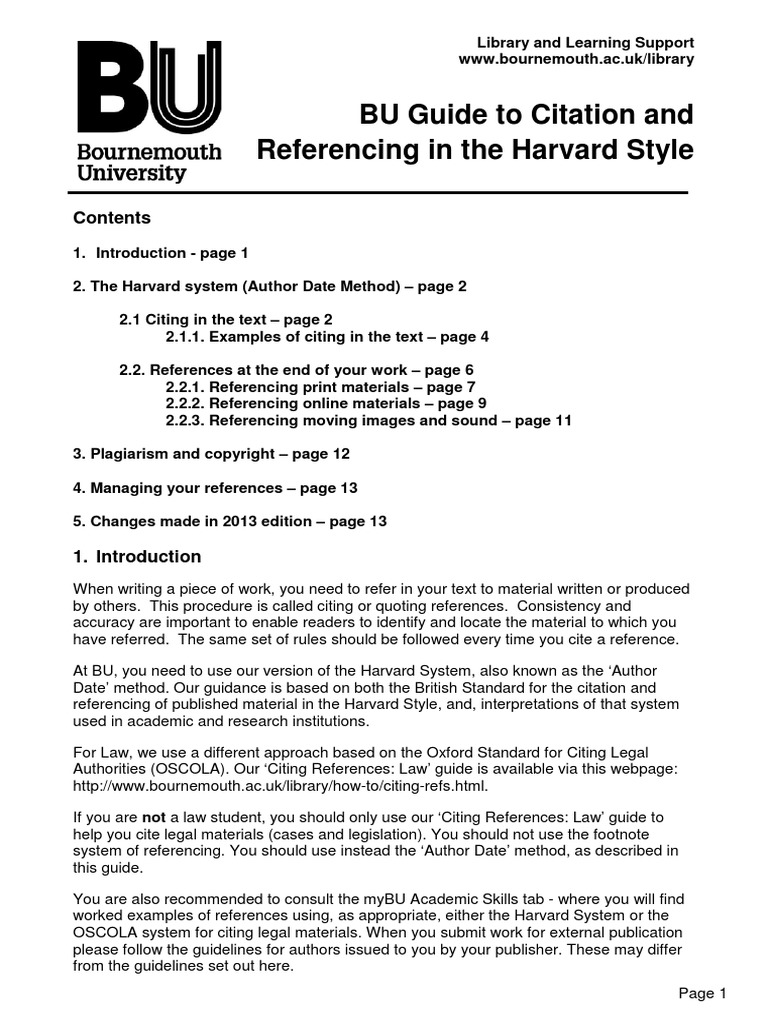 bu guide to citation and referencing harvard style citation