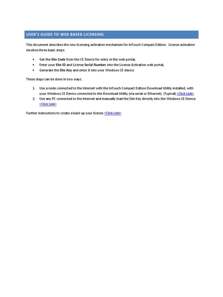 license activation wonderware