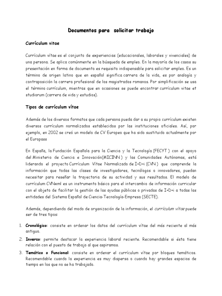Documentos Para Solicitar Trabajo Docx