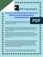 Dyman Associates Risk Management Tipps Für Eine Effektive Es Risikomanagementplan Für Finanzdienstleistungen