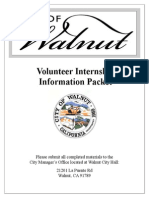 Volunteer/Intern Information Packet and Application formfor the City of Walnut-91789