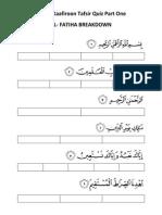 Fatiha to Kafiroon Quiz