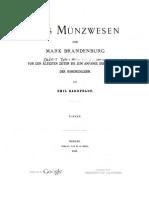 Das Münzwesen der Mark Brandenburg von den ältesten Zeiten bis zum Anfange der Regierung der Hohenzollern. [Tl. II]