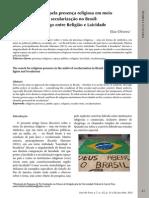 Artigo - A Busca Pela Presença Religiosa Em Meio à Secularização No Brasil. Diálogo Entre Religião e Laicidade