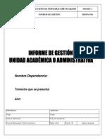 Formato Presentación Informe de Gestión
