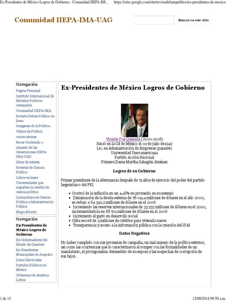 Ex-Presidentes de México Logros de Gobierno - Comunidad IIEPA-IMA-UAG