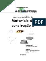 Apontamentos Teóricos de Materiais de Construção 1