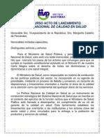 Discurso Ministro de Salud Dr. Freddy Hidalgo. Lanzamiento Política Nacional de Calidad en Salud.