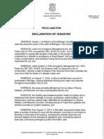 Governor Snyder Declaration of Disaster