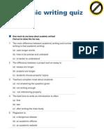 Academic Writing Quiz
