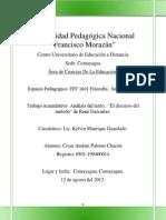 Analisis Del Texto; El Discurso Del Metodo de Rene Descartes.