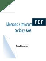 Minerales y Reproducción en Cerdos y Aves