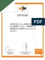 Certificado - Workshop de Liderança de Alto Impacto - UNIFOX