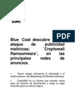Blue Coat descubre nuevo ataque de  publicidad maliciosa; ¨Cryptowall Ramsomware¨, en las principales redes de anuncios