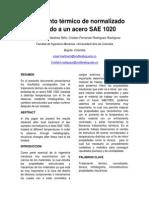 Tratamiento Térmico de Normalizado Aplicado a Un Acero SAE 1020
