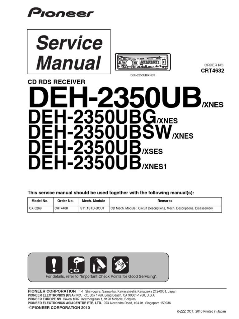 Deh 2350ub Laser Usb Pioneer 1300mp Wiring Diagram Additionally 1100