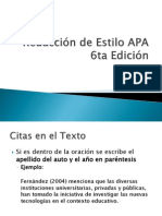 Redacción de Estilo APA 6ta Edición