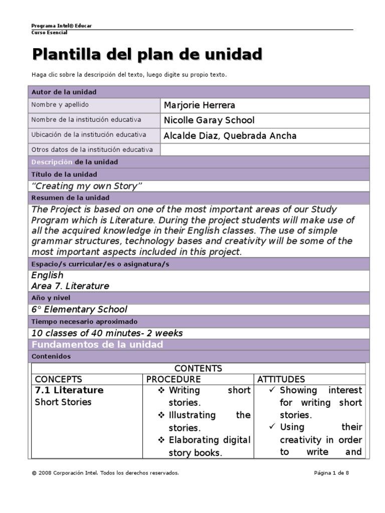 plantilla plan unidad | Rubric (Academic) | Academia