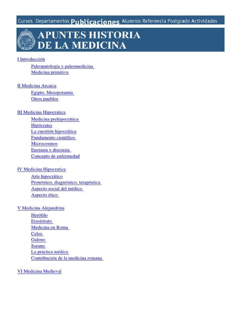 Apuntes de La Historia de La Medicina