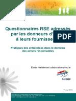 ORSE-MEDEF - Guide Questionnaires RSE - Fevrier 2013