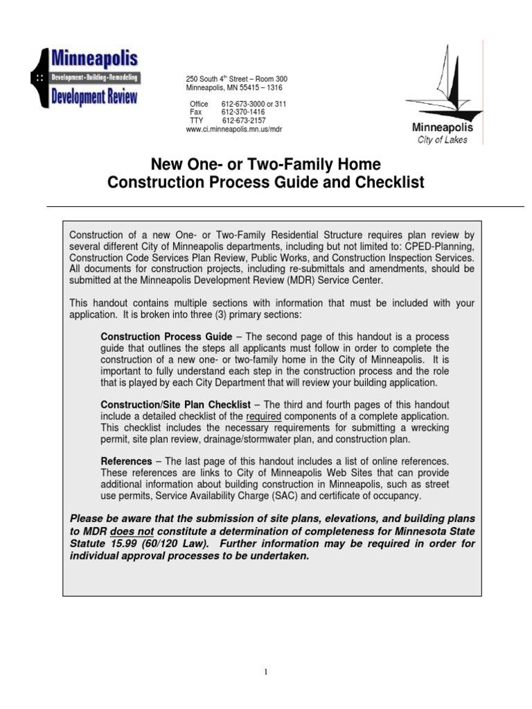 new one or two family home construction process guide and checklist