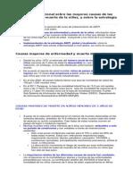 Informacion Adicional Sobre Las Mayores Causas de Las Enfermedades y Muerte de La Ninez
