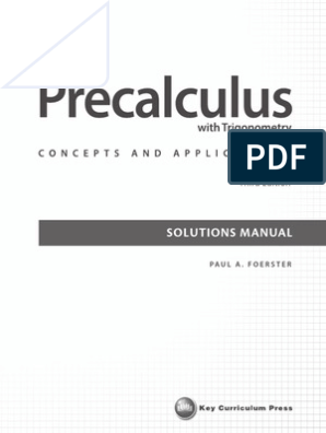 paul a foerster precalculus with trigonometry concepts and