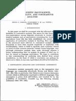 Cross Linguistics Equivalence, Traslatability and Contrastive Analysis