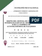 Diseño Del Sistema de Control Interno Coso Empresa de Autotransporte Pasajeros